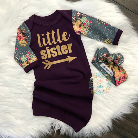 Little sister Handmade Plum and Floral gown - Purple ** Please allow 2-3 WEEKS PROCESSING TIME **