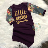 Little sister Handmade Plum and Floral gown - Gigi and Max
