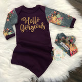 Hello Gorgeous Handmade Plum and Floral gown - Purple ** please allow 2-3 weeks for processing ** - Gigi and Max