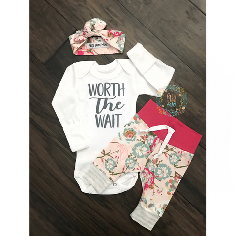 Light Pink Floral Worth the Wait Newborn Outfit