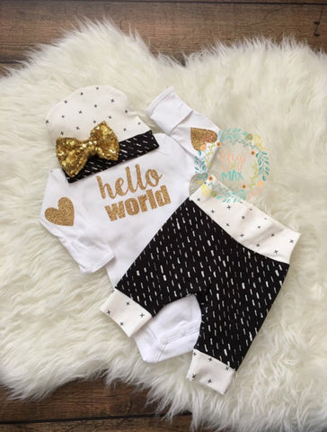 Monochrome and Gold Hello World Newborn Outfit
