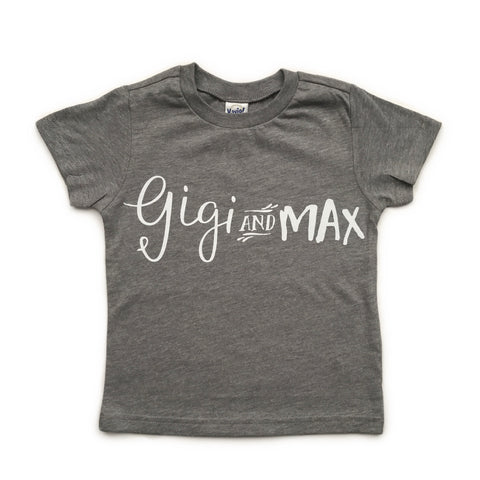 Gigi and Max branded tee, white ink - grey - Gigi and Max