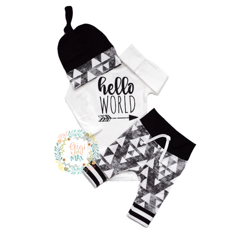 Hello World organic Black and Gray Triangle Newborn Outfit