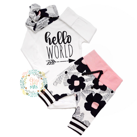 Black floral and Pink Hello World Newborn Outfit