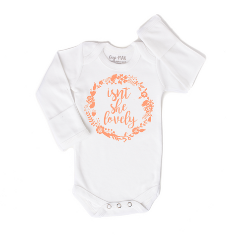 Isnt she lovely peach - long sleeve - Gigi and Max