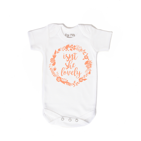 Isnt she lovely peach - short sleeve - Gigi and Max