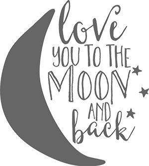 Love You To The Moon - Gray - Gigi and Max