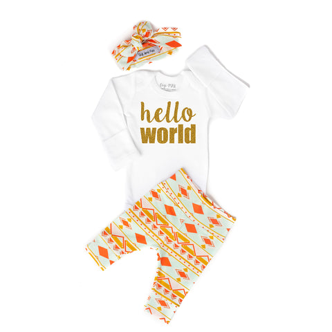 Peach and Mint Aztec Hello World Newborn Outfit - Gigi and Max
