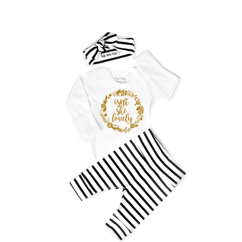 Gold Shimmer Isn't she Lovely Black and White stripe Newborn Outfit - Gigi and Max