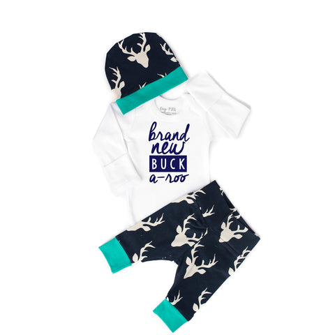 Brand New Buck a-roo Newborn Outfit Navy and Teal - Gigi and Max