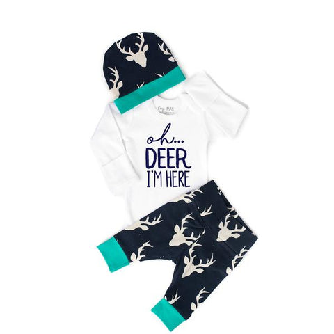 0-3 month - Buck Navy and Teal Oh Deer I'm Here Outfit