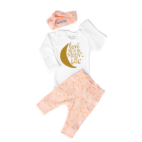 Pink Love You to the Moon and Back Newborn Outfit - Gigi and Max