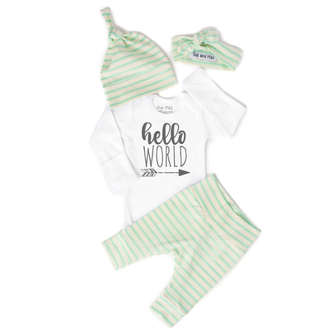 Hello World Mint Stripe Gender Neutral Newborn Outfit - Gigi and Max