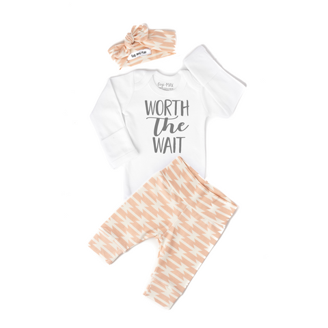 Worth the Wait Pink geo Newborn Outfit - Gigi and Max