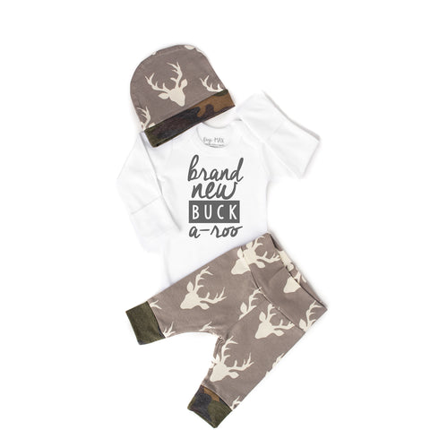 Brand New Buck a-roo Newborn Outfit Gray and Camo - Gigi and Max