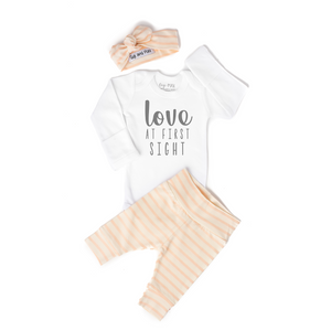 Love at First Sight Coral Stripe Newborn Outfit