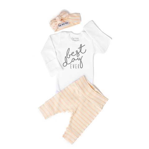 Peach coral stripe BEST DAY Ever gray writing Newborn Outfit - Gigi and Max