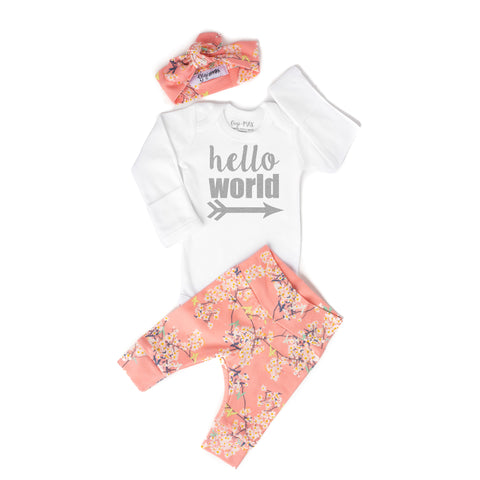 0-3 month - Pink floral Hello World Outfit - Gigi and Max