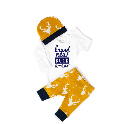 Brand New Buck a-roo Newborn Outfit Mustard - Gigi and Max