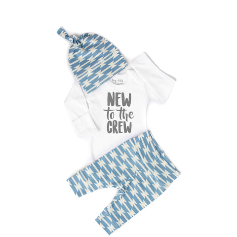 New to the Crew Blue Geo Newborn Outfit - Gigi and Max