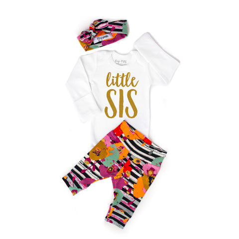 Little Sis newborn outfit Autumn Floral - Gigi and Max