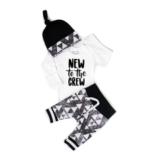 New to the Crew organic Black and Gray Triangle Newborn Outfit