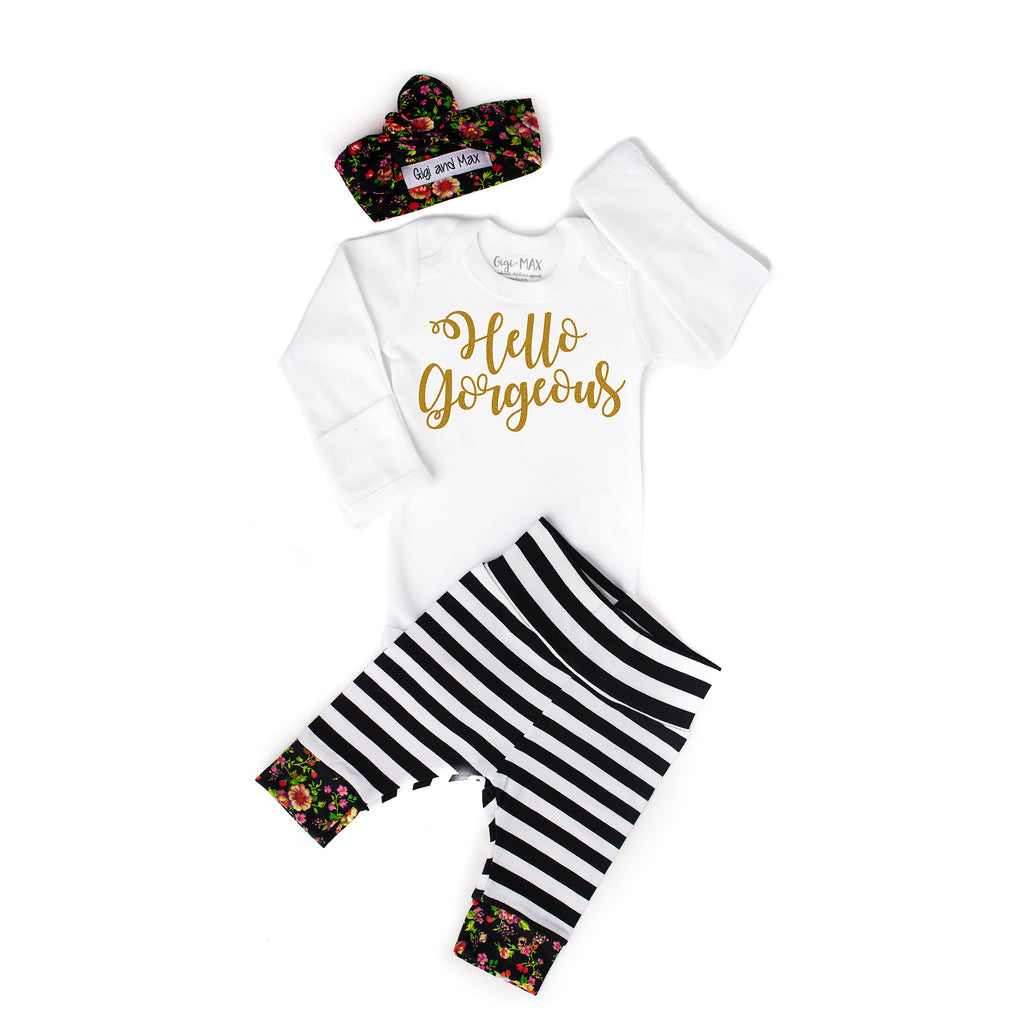 9228198d8 Hello Gorgeous Stripe and Floral Newborn Outfit – Gigi and Max
