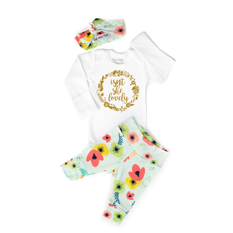 Gold Shimmer Isn't she Lovely Floral on Light Blue Newborn Outfit - Gigi and Max