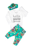 Teal Floral Hello World Newborn Outfit - Gigi and Max