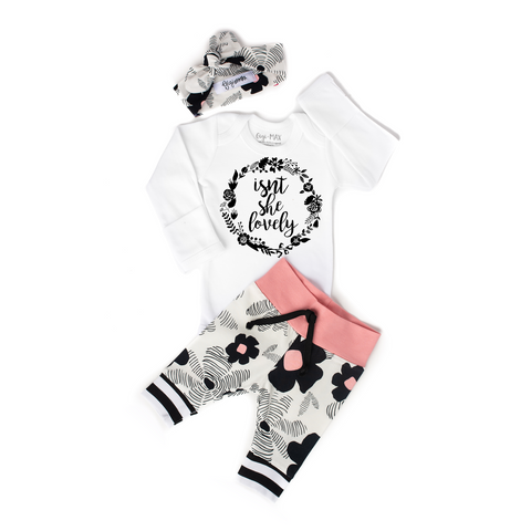 Black and Pink Floral Isn't She Lovely Newborn Outfit - Gigi and Max