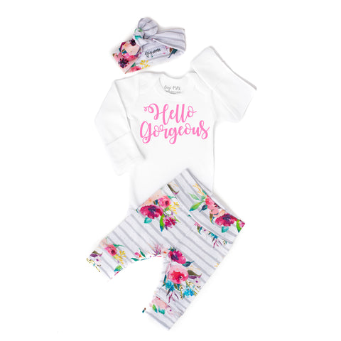 Watercolor Floral Hello Gorgeous Newborn Outfit - Gigi and Max