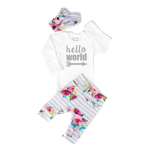 Watercolor Floral Hello World Newborn Outfit - Gigi and Max