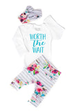Watercolor Floral Worth the Wait Newborn Outfit - Gigi and Max