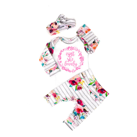 3 Piece Newborn Outfit Isn't she Lovely Watercolor Floral - Gigi and Max