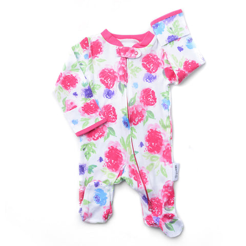 Pink Purple Brynn Newborn footed zippered one piece - Newborn Size - Gigi and Max