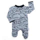 River Gray Mountain Newborn footed zippered one piece - Newborn Size - Gigi and Max