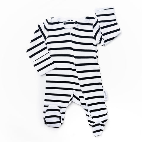 Charlie Stripe Newborn footed zippered one piece - Newborn Size - Gigi and Max