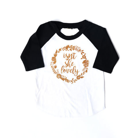 Isn't She Lovely Raglan - black and gold - Gigi and Max
