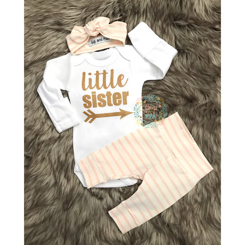 Little Sister newborn outfit Gold Shimmer pink stripe - Gigi and Max