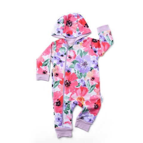 Watercolor Emilia floral 2 way zip Romper - DOUBLE LAYER - Gigi and Max