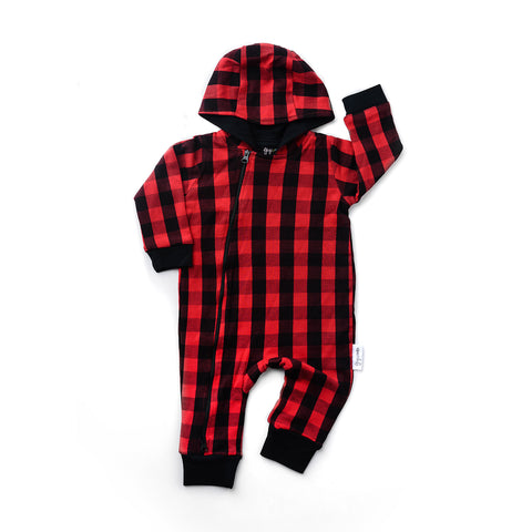 Hudson Buffalo Plaid 2 way zip Romper - DOUBLE LAYER - Gigi and Max