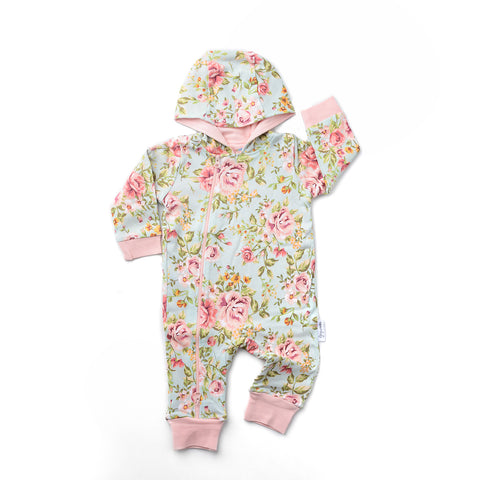 Green Floral Grace 2 way zip Romper - DOUBLE LAYER - Gigi and Max