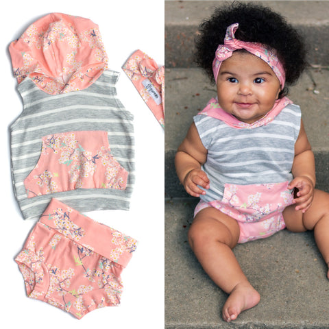 Pink Floral - Tank Hoodie and Shorties Set Handmade (bonus free headband) - Gigi and Max