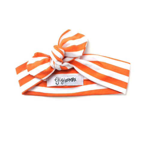 Preorder Orange stripe topknot headband - matches Halloween ** please allow 3-4 weeks for shipment ** - Gigi and Max