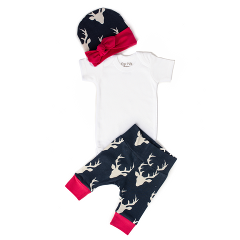 Pink & Navy Deer - Short Sleeve - Gigi and Max