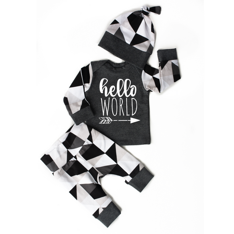 Hello World black and gray triangles 3 piece set newborn outfit - Gigi and Max
