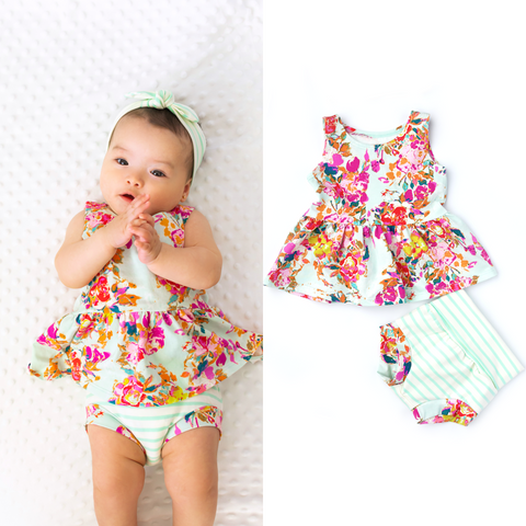 Ada Floral Peplum and Shorties Set Handmade (headband sold separately) - Gigi and Max