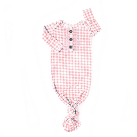 Addison Pink Gingham Knotted Ruffle Button Gown - Gigi and Max