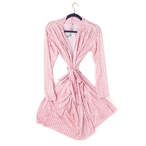 Addison Pink Gingham Mommy Robe