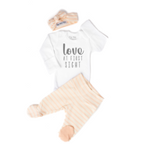 Footed pant Love at First Sight Coral Stripe Newborn Outfit - Gigi and Max